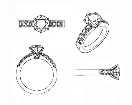 Solitare diamond sketch
