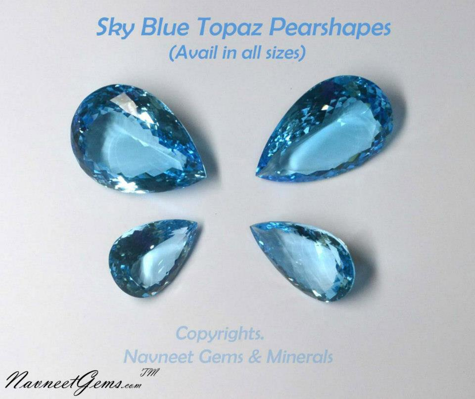 Sky Topaz Pears big and small size
