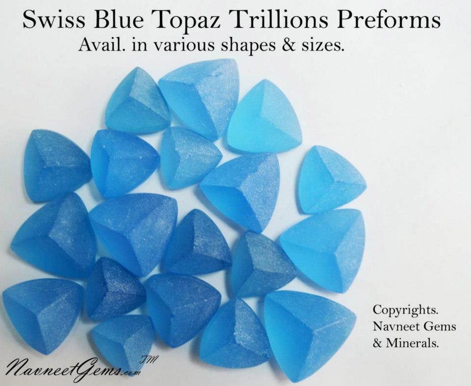 Swiss Blue Topaz Preforms & Rough Trillions