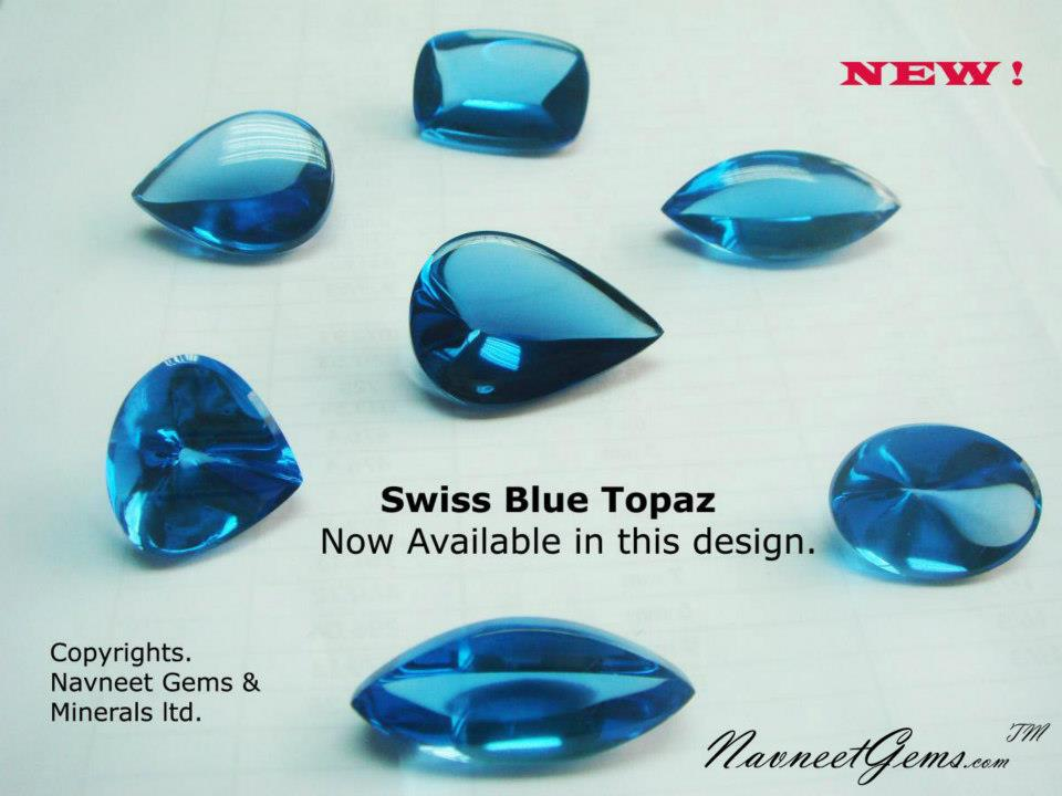 Swiss Blue Topaz cabochons over 20 carats