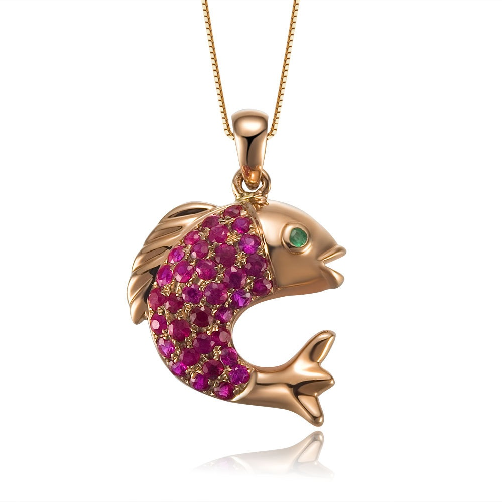 Animal jewelry set with cz and colored gemstones for Gold fish pendant
