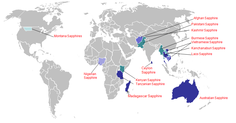 Worldmap of Sapphire regions