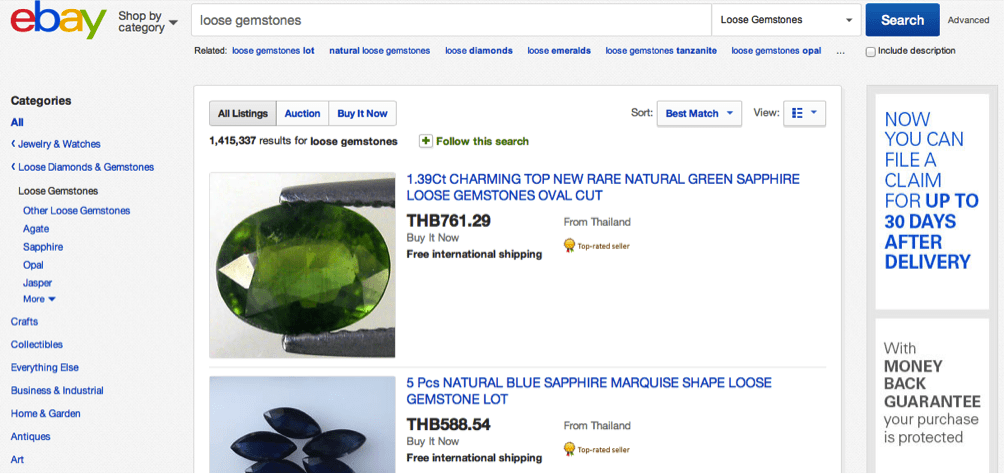 Ebay Gemstone Sellers from Thailand