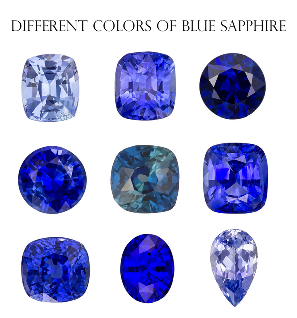 Different colors of Blue sapphire