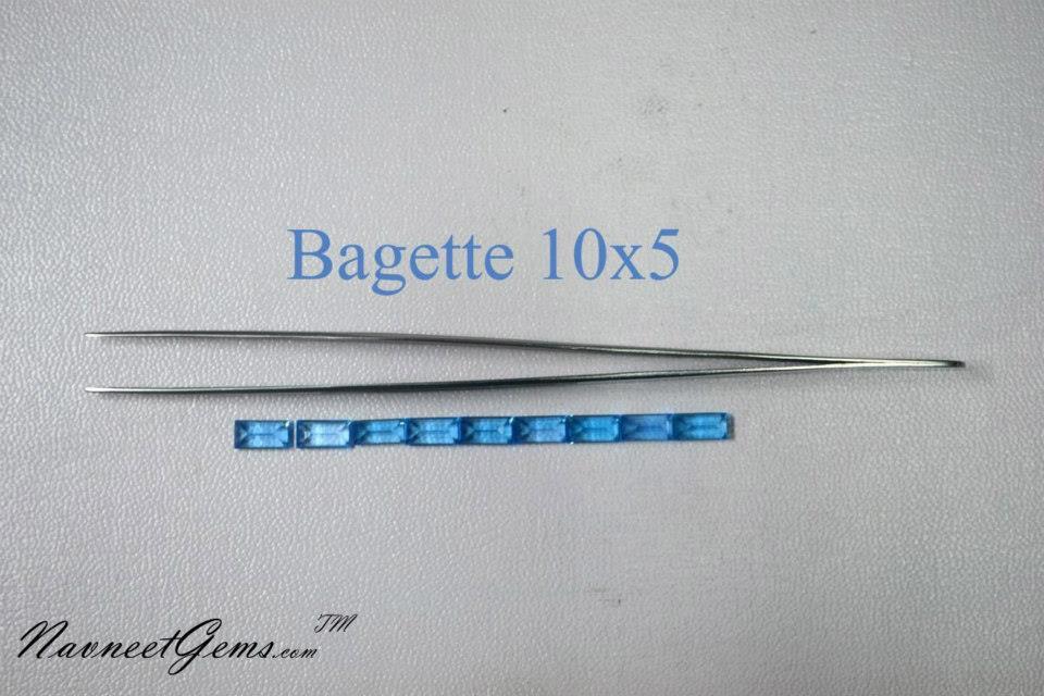 Swiss Blue topaz Bagette 10x5