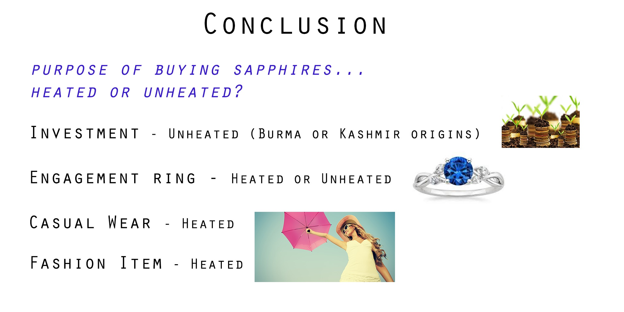 Conclusion on Heated and Unheated sapphire