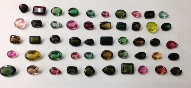 multi tourmaline faceted stones mix color stones
