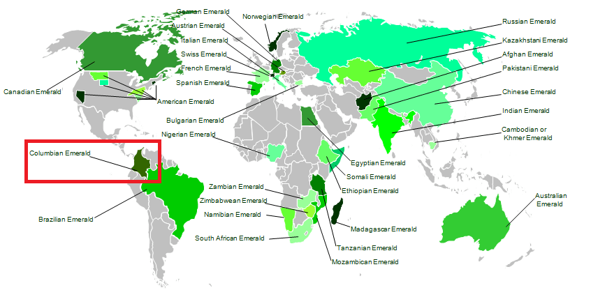 World map of emerald regions - Columbia hilighted