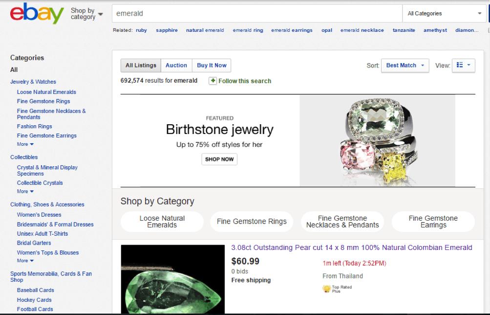 Emerald sellers ebay
