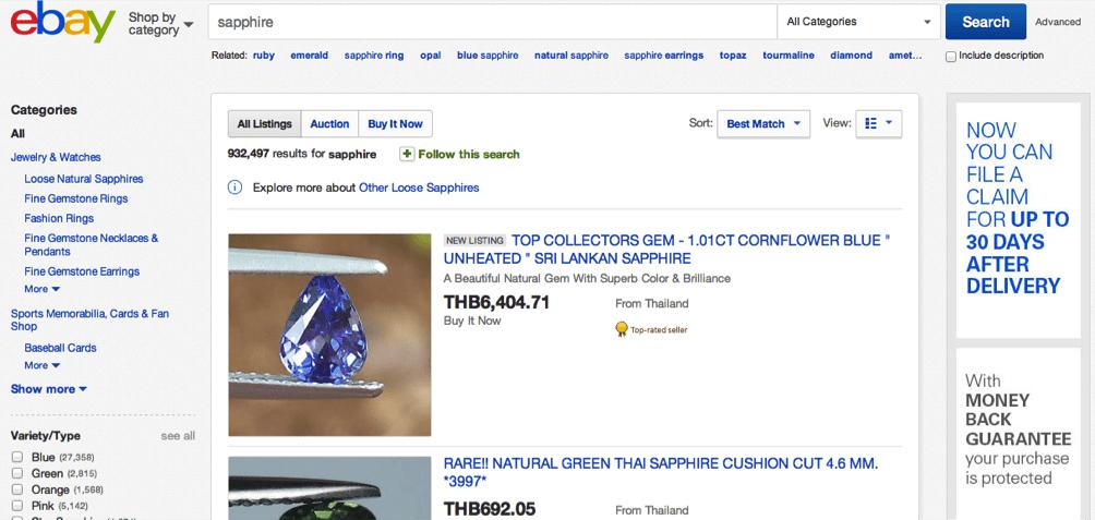 Sapphire Sellers on Ebay Thailand