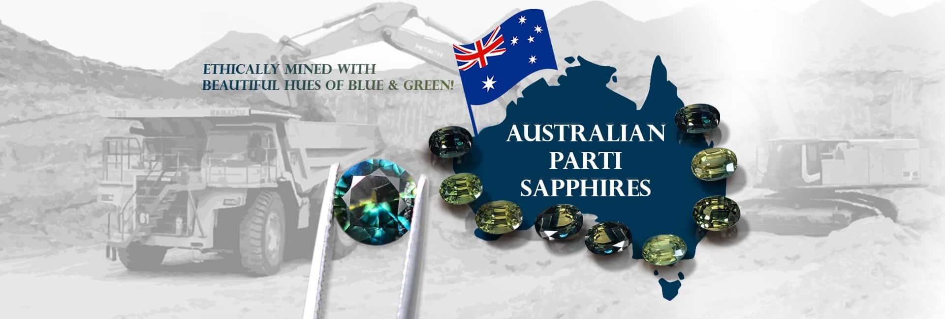 Australian parti sapphire wholesale gemstones